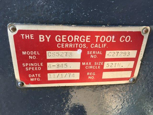 BY GEORGE MODEL CS5273 POWERED CIRCLE SHEAR 1/4 x 52 DIA.