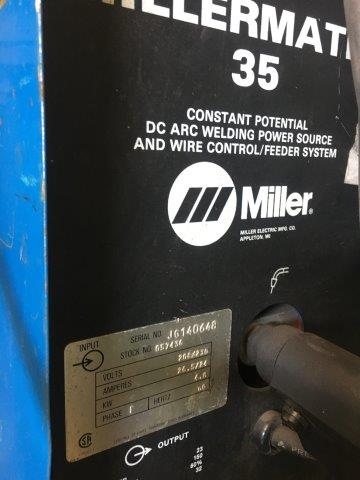 150 Amp, MILLER Model Millematic 35, Mig Gun and Clamps